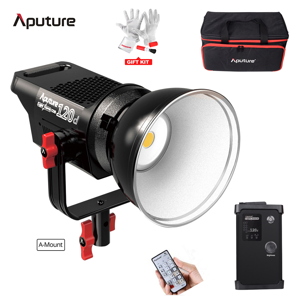 Aputure Light Storm COB 120D 135W 6000K LED Continuous Video Light CRI97+ Bowens Mount / Anton Bauer Battery with Remote Control aputure light dome mini soft box flash diffuser for light storm 120 and cob 300 series bowens mount led lights