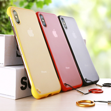 Frameless Case For iPhone XS Max XR 6 6s 7 8 Plus Luxury Ring Design Scrub Hard PC Back X Cover