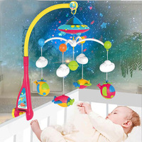 Baby bed bell 0 1 year old newborn 0 12months toy rotating music hanging baby rattle bracket set baby crib mobile holder