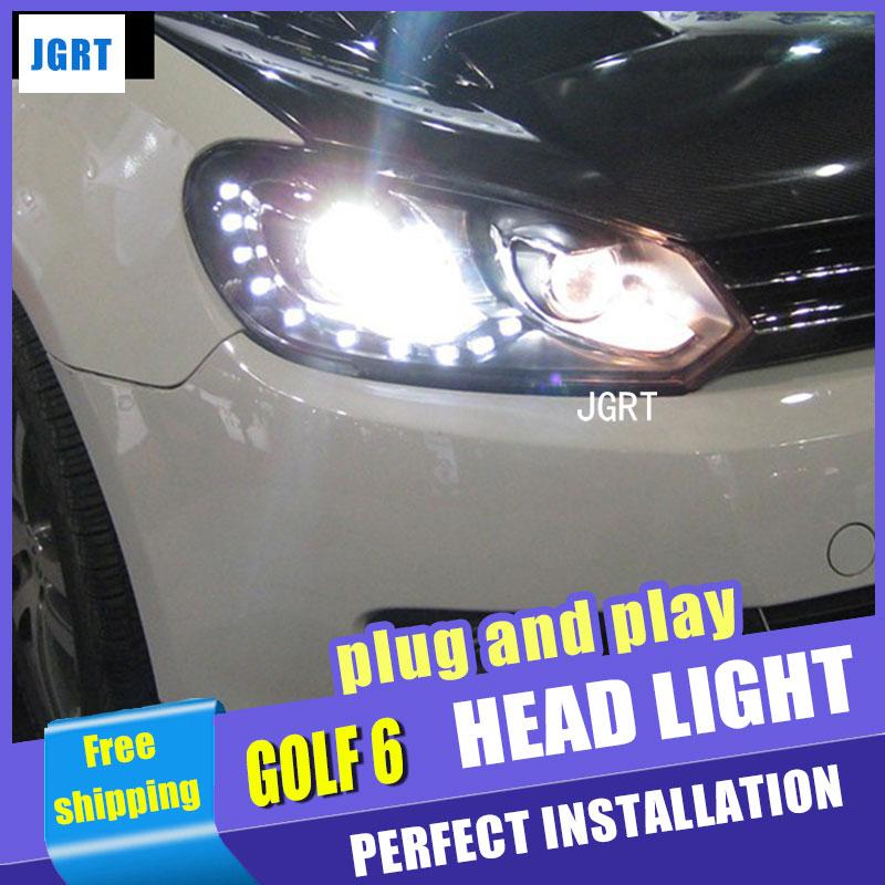 Car Styling for VW Golf 6 Headlight assembly Volks Wagen Golf Mk6 LED Headlight DRL Bi Xenon Lens High h7 with hid kit 2pcs.