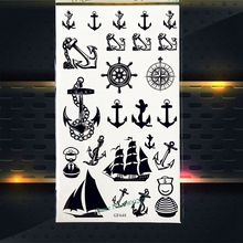 Marine Navy Pirate Anchor Temporary Tattoo Compass Flash Black Tattoo Stickers 17x10cm Waterproof Tatoo Sticker Style