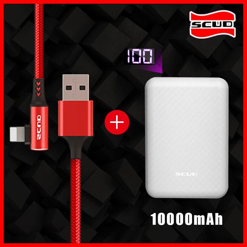 Scud mini batterie externe 10000 mAh + câble USB avec LED affichage numérique plus petit mince powerbank rapide pour iphone X XS XR 4 s 5 5 s 6 s 7