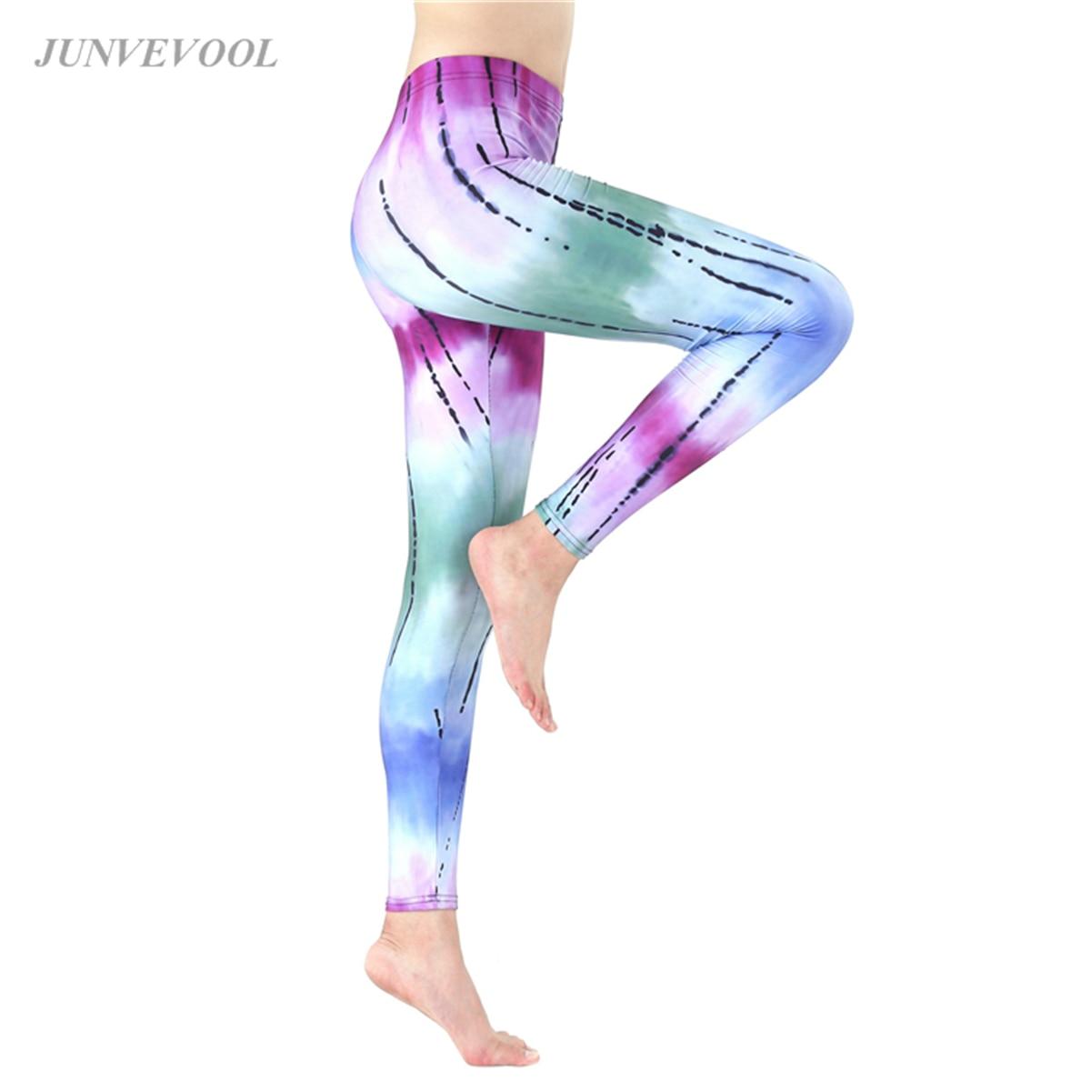 Tie Dye Sexy Leggings Women Line Patchwork Fitness Legging Harajuku Legins Sportswear Lovely Hot Sale Legging Workout Pants