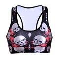 Women  Wire Free Skull Print TopTanks Push Up Brassiere Women's Underwear Seamless  Wide Back Bra Undies