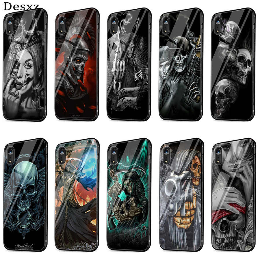 Desxz Grim Reaper Skull Skeleton Luxury Case Glass For iPhone 5 5s SE 6 6s 7 8 Plus X XS Max XR Protection Cover