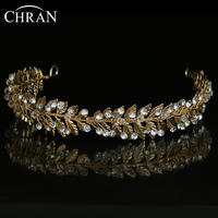 CHRAN Lovely Gold Plated Crystal Bridal Hair Jewelry Accessories Wholesale Leaf Designer Women Headbands Wedding Jewelry