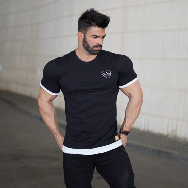 Men Running T-shirts New Black Print Plus Quick Dry Anti-sweat Short Sleeve Sport Shirts Sportswear Tops Gym