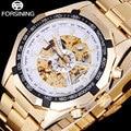 FORSINING 2016 homens popular marca relógios simples relógio mecânico automático esqueleto mostradores brancos caso de ouro banda de aço inoxidável