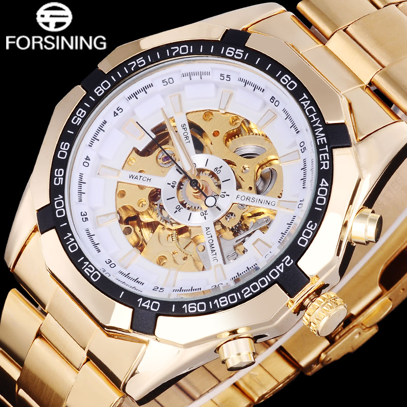 FORSINING 2017 Popular Brand Men Watches Simple Automatic Mechanical Watch Skeleton White Dials Gold Case Stainless Steel Band forsining men s watch automatic dress watches plastic band alloy case mechanical wristwatch color deep blue gift box
