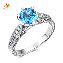 Peacock Star 14K White Gold Vintage Wedding Engagement Ring Swiss Blue Topaz Natural Diamond