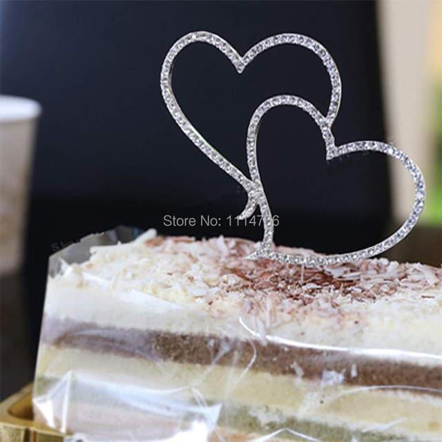 Wedding Decoration – Romantic Crystal Rhinestone Silver Cake Topper