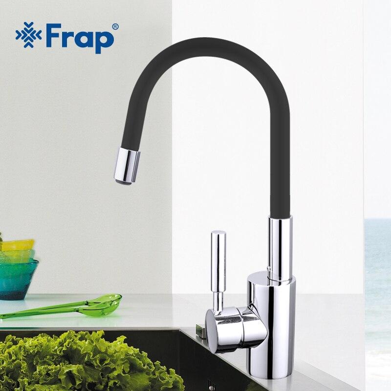 Frap Новый 7-цвет силикагель нос любой направление вращения Кухня кран холодной и горячей воды смесителя torneiras Cozinha monocom f4053