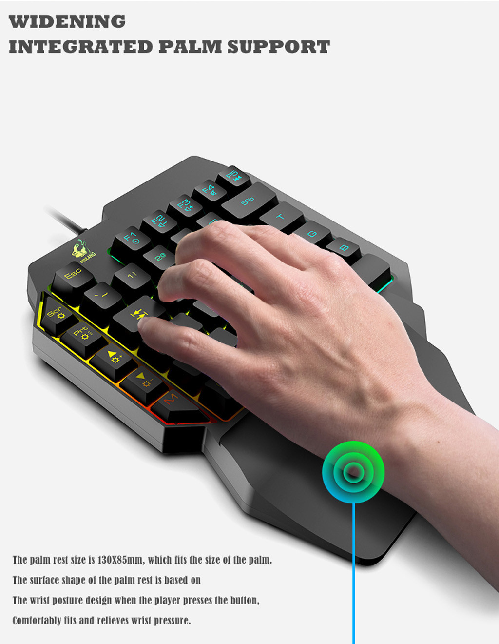 Free wolf T15 Wired Gaming 39 Keys One-handed keyboard with LED Backlight Membrane Keyboard For Laptop Desktop PC