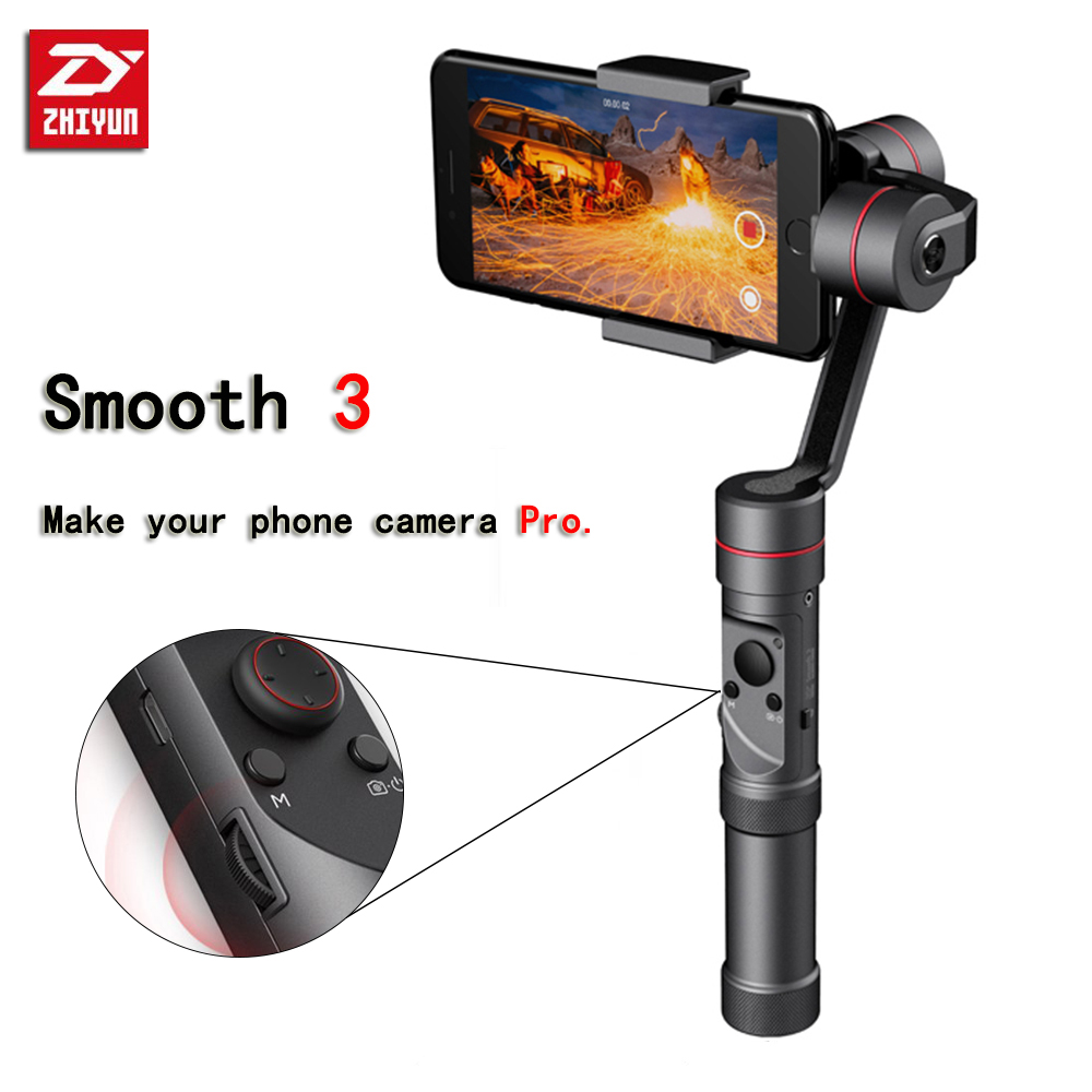 Zhiyun Smooth 3 3-Axis Handheld Gimbal for Smartphone(Max.6) Like Iphone X 8 7P And Action Camera Like Gopro 3 4 5 zhi yun zhiyun smooth 3 smooth iii 3 axis handheld smartphone gimbal stabilizer for iphone x 8 for samsung for gopro sjcam