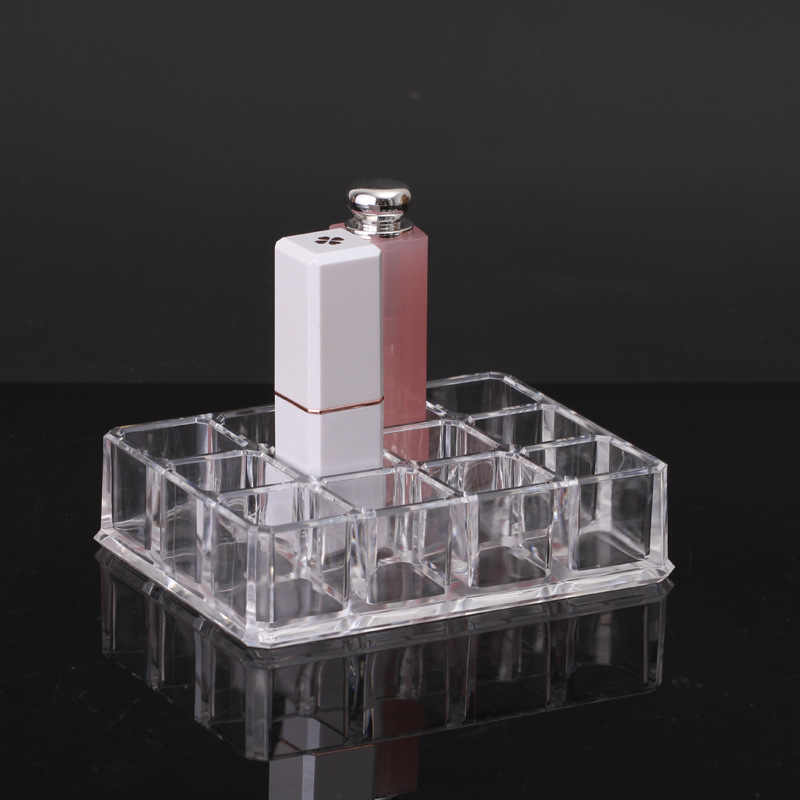 New 12 Grids Acrylic Lipstick Holder Cosmetic Storage Box Makeup Organizer Lip Gloss Case Desktop Sundries Jewelry Display Box