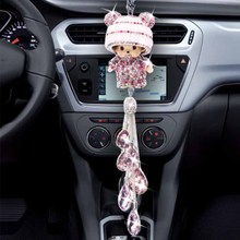 Car pendant doll crystal car rearview mirror cartoon decoration pink water drill Pendant Gift accessories