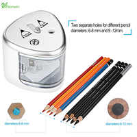 TENWIN Battery Operated Pencil Sharpener 2 Holes 6-8mm & 9-12mm Automatic Electric Sharpener Auto-Stop Safety Feature 8004