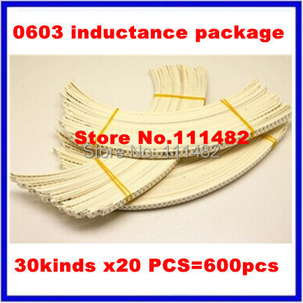 30kinds x20 PCS/each=600 Common winding inductance kit, 0603 inductors package  1.2nH~10uH