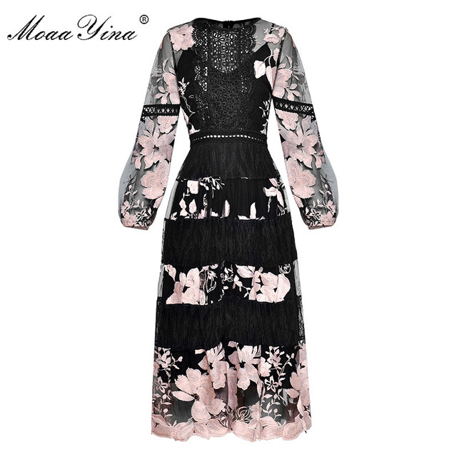 MoaaYina Vintage Fashion Dress Spring Women's Lantern sleeve see through Mesh Floral Embroidery Sexy party Long Dress
