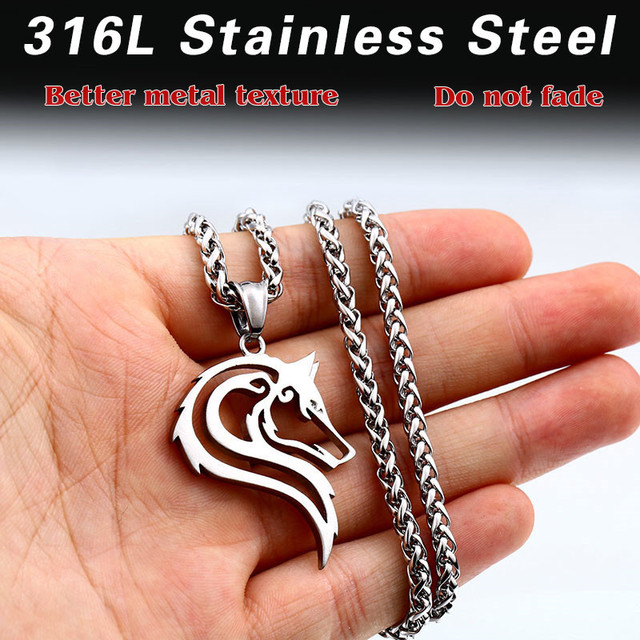 316L Stainless Steel Wolf Head Pendant Necklace