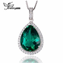 JewelryPalace Luxury Pear Cut 7.4ct Created Green Emerald Solid 925 Sterling Silver Pendant Jewelry Without a Chain