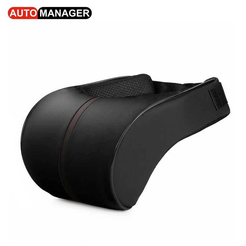 Car Neck Pillow Auto Memory Foam Headrest for The Neck Support Massage Pillows Pu Leather Cars Accessories