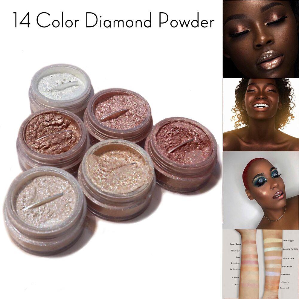 14 couleurs diamant paillettes miroitant lueur bronzant surligneur poudre fard à paupières perle poudre lâche paillettes Pigment visage facile à utiliser en métal