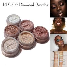 19color Diamond glitter shimmer glow bronzer highlighter powder EyeShadow Pearl Loose Powder Glitter Pigment Face Easy Use Metal недорого