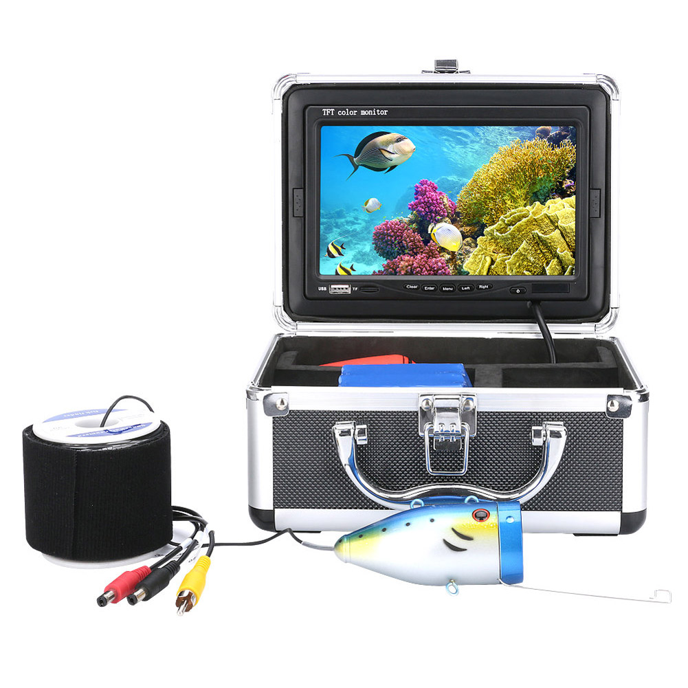20/30M 7 inch 1000tvl Fish Finder HD DVR 4G TF Card Recorder Waterproof Fishing Video Power Supply(EU)+Swim Bladder Ring