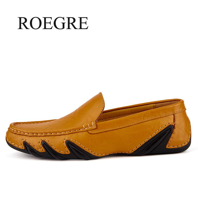 ROEGRE Handmade Genuine Leather Men's Flats Casual Luxury Brand Men Loafers Comfortable Soft Driving Shoes Slip On Moccasins genuine leather flats men shoes loafers new fashion slip on moccasins handmade driving zapatos hombre breathable cut outs summer