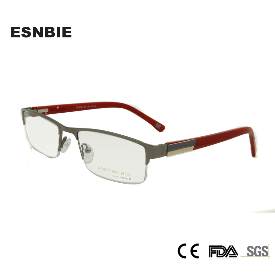 ESNBIE New Mens Glasses Frames Square Mens Half Glass Men Optical Geek Glasses Metal Eyeglasses Women Oculos De Grau 9185
