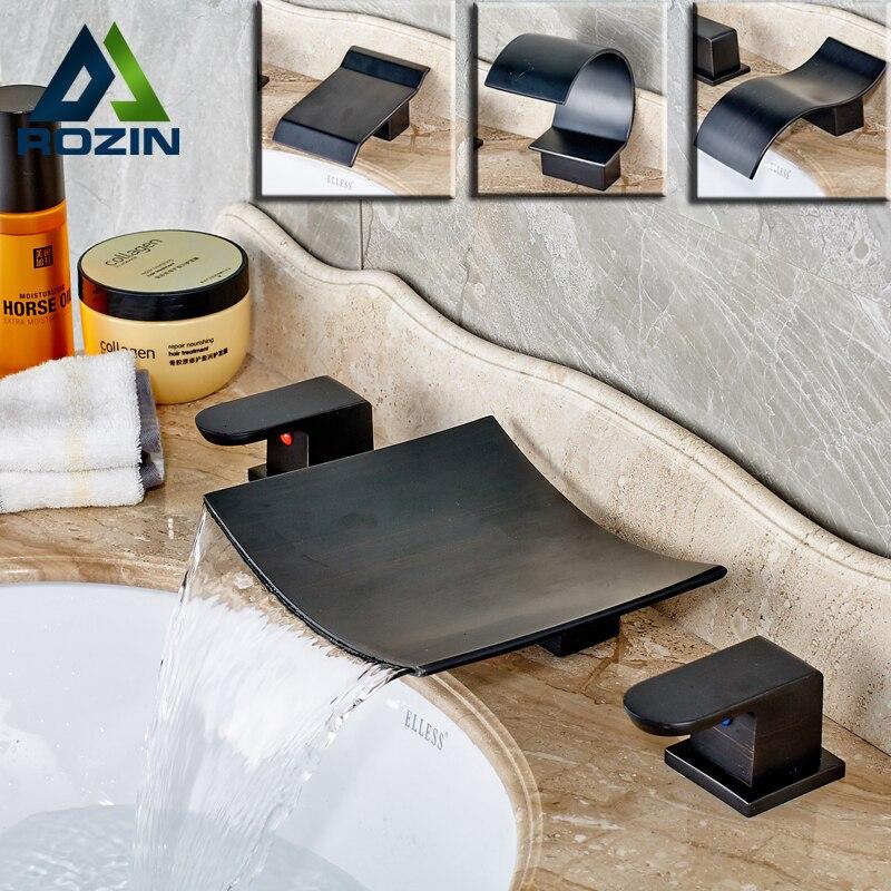 Высокое качество ванная комната кран 3 шт. бассейна воды краны две ручки три отверстия масло втирают Бронзовый бортике