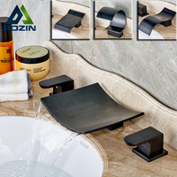 High Quality Bathroom Faucet 3pc Basin Water Taps Two Handles Three Holes Oil Rubbed Bronze Deck Mounted