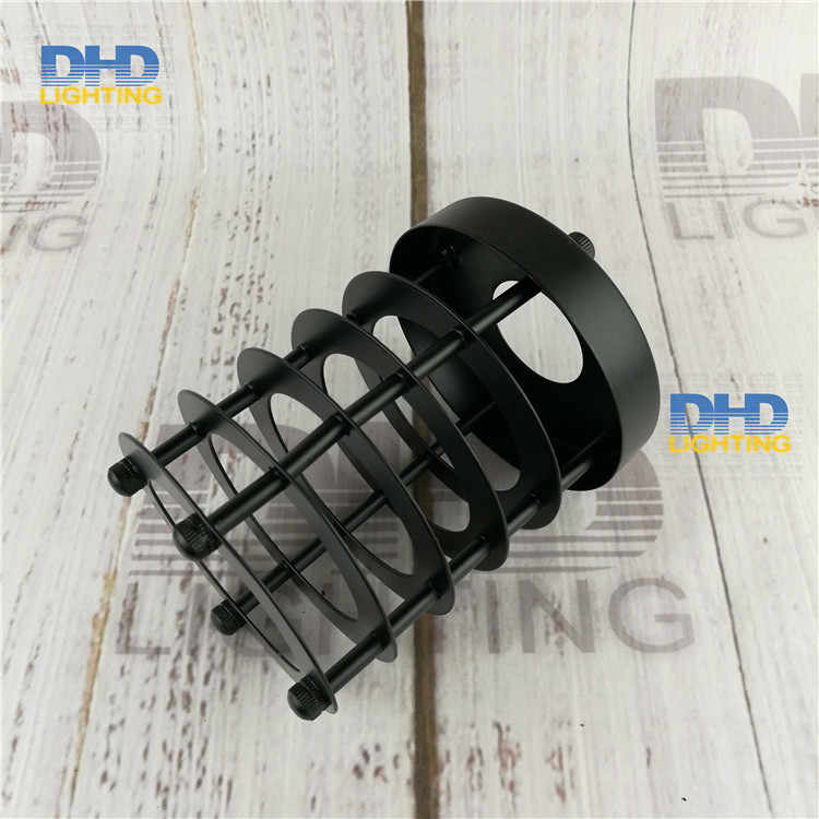 Free shipping D100mm*H140mm E27 lamp shade black finished iron cage edison lamp shade