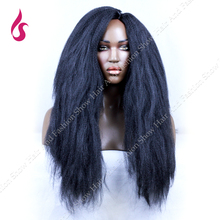Yaki Straight Long Synthetic Lace Front & No Lace Wigs 1B Color Heat Resistant Italian For Black Women