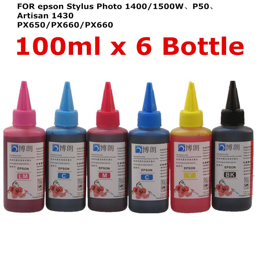 Prix pour Universal Haute qualité Premium Dye D'encre 100 ml Pour EPSON Stylus Photo 1400 1500 w P50 Artisan 1430 PX650 PX660 PX660 Imprimante
