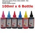 Universal alta qualidade premium tinta corante 100 ml para epson stylus photo 1400 1500 w impressora de p50 px660 artisan 1430 px650 px660