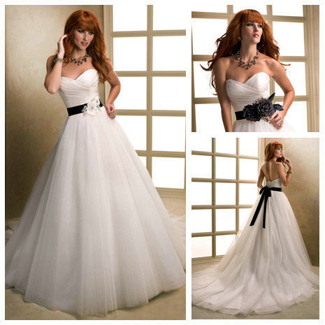 Ivory Tulle Ball Gown Handmade Flowers Black Ribbon Wedding Gowns ...