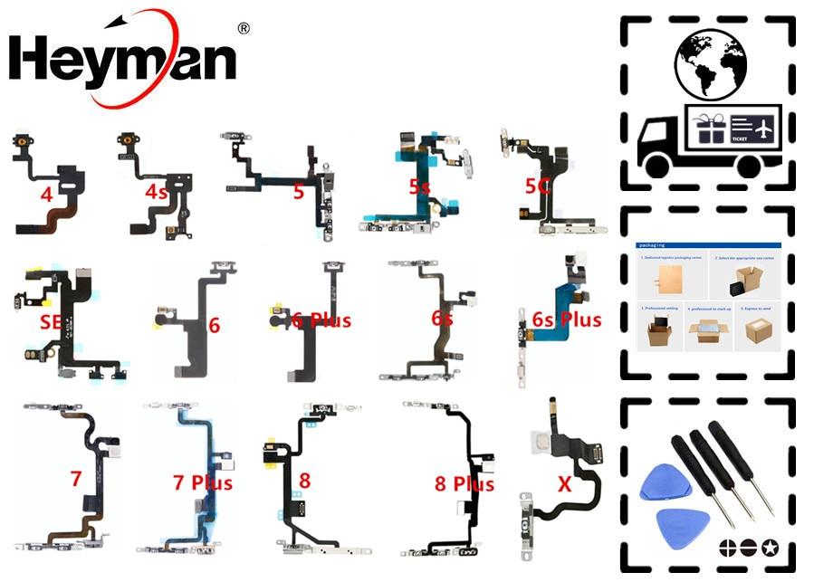 Heyman On Off Button Flex Cable For Apple IPhone 4s/5/5S/5C/SE/6G/6Plus/6SPlus/7G/Plus/8/X Volume Button Power Switch Microphon