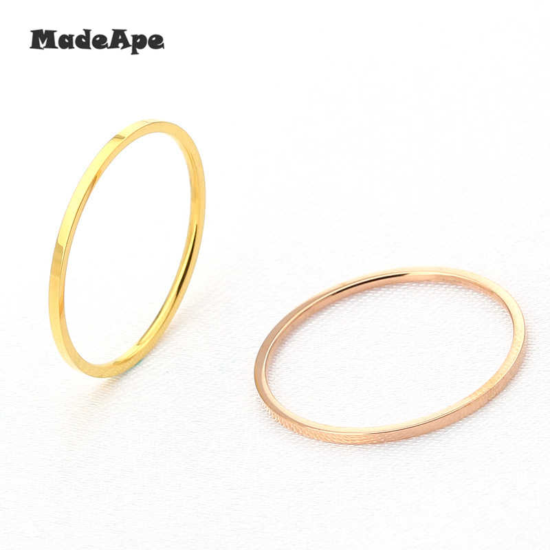 MadApe 1mm Titanium Stainless Steel Silver Rose Gold Color Anti-allergy Smooth Couple Wedding Ring Woman Man Fashion Jewelry