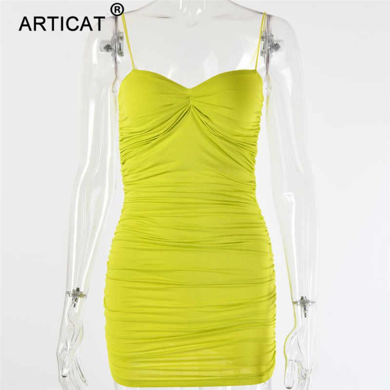 Articat espaguete cinta ruched sexy vestido de verão das mulheres fora do ombro sem alças sem costas bodycon mini vestido de festa plissado