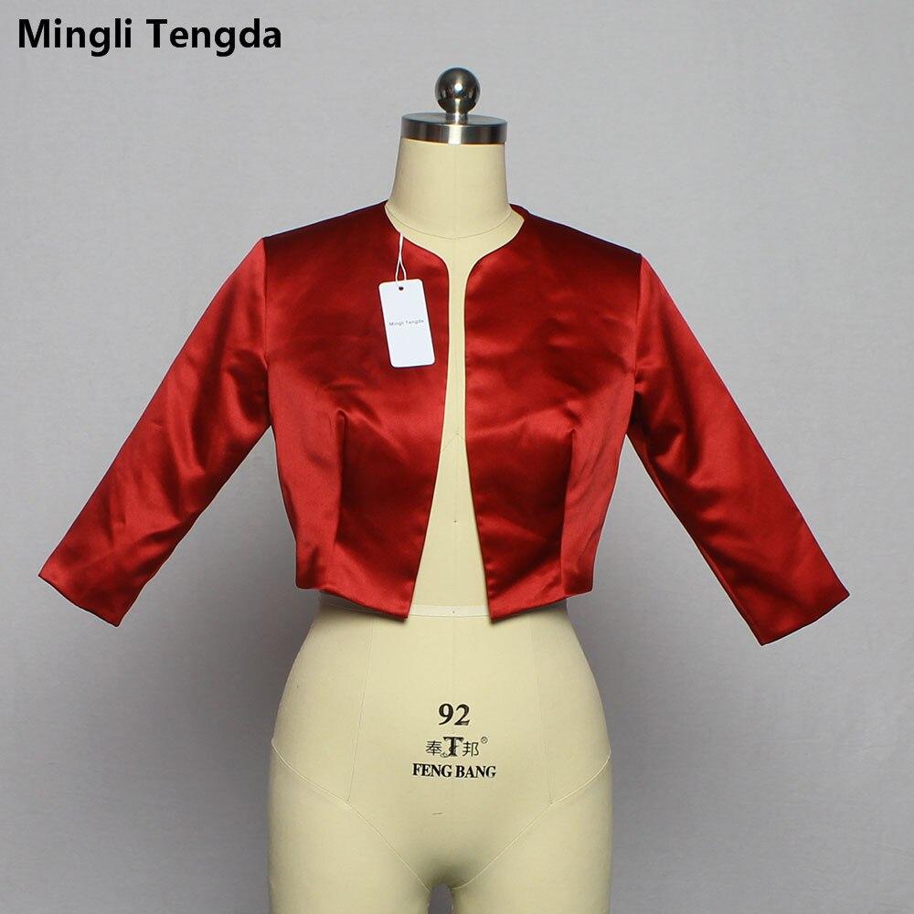 Mingli Tengda Red Wine Bolero Mariage Shawl Wraps 3/4 Sleeves Bridal Jacket Coat Stain Wedding Stole Cape Shrug Jacket Woman New
