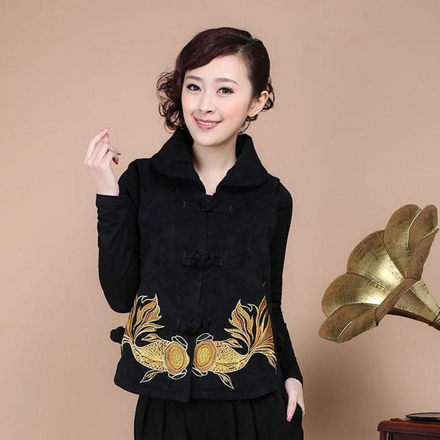 Mianma Large Size Mother Loaded Square Disc Deduction Embroidery Chinese National Wind Vest Tops Yang Liping Leisure Women