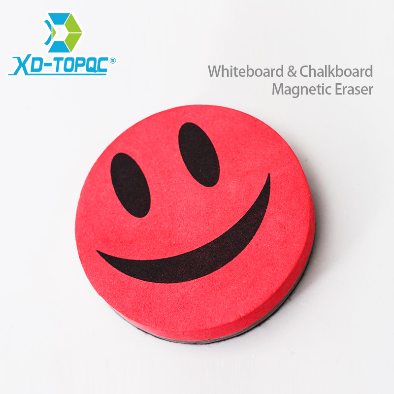 XINDI 2017 Smile Face Whiteboard Eraser 4 Colors Magnetic Board Erasers Wipe Dry School Blackboard Marker Cleaner Free Shipping