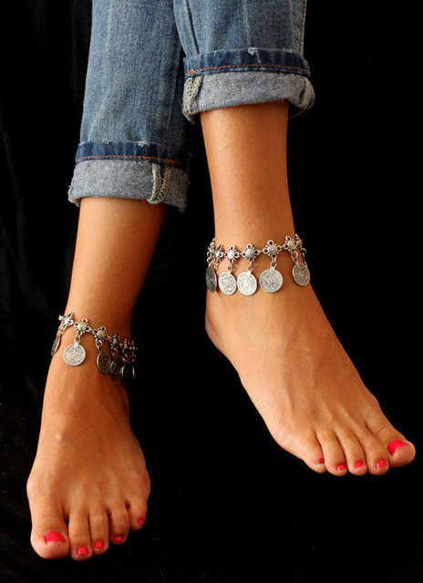 Flower Child Silver Coin Anklet. Adjustable Handmade floral design Boho Gypsy Beachy Ethnic Tribal Festival Jewelry Turkish