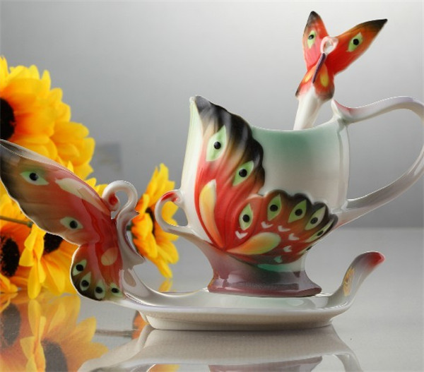 Beautiful Coffee Cups Images Cup Photos Pictures Porcelain Carving The  Color Butterfly Saucer Bone China Creative