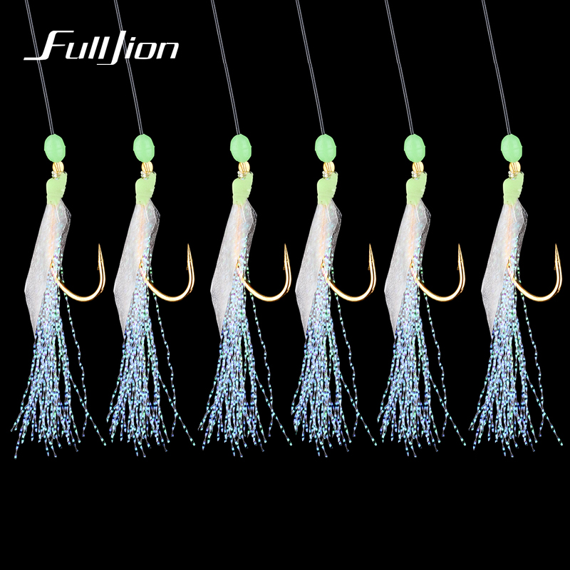 Fulljion Fishhooks For Swivel Fishing Luminous Gold-plated Fish Skin Fishy Smell Pesca Combination String Hook With 6 Small Hook