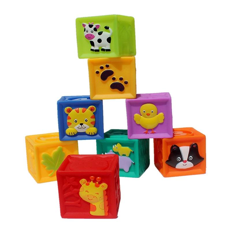 9 Pcs Baby Cartoon Zachte Blokken Kinderen Dieren Geperst Regenboog Blokken Voor Leren Kleur Nummers Educatief Speelgoed 5.5*5.5 Cm