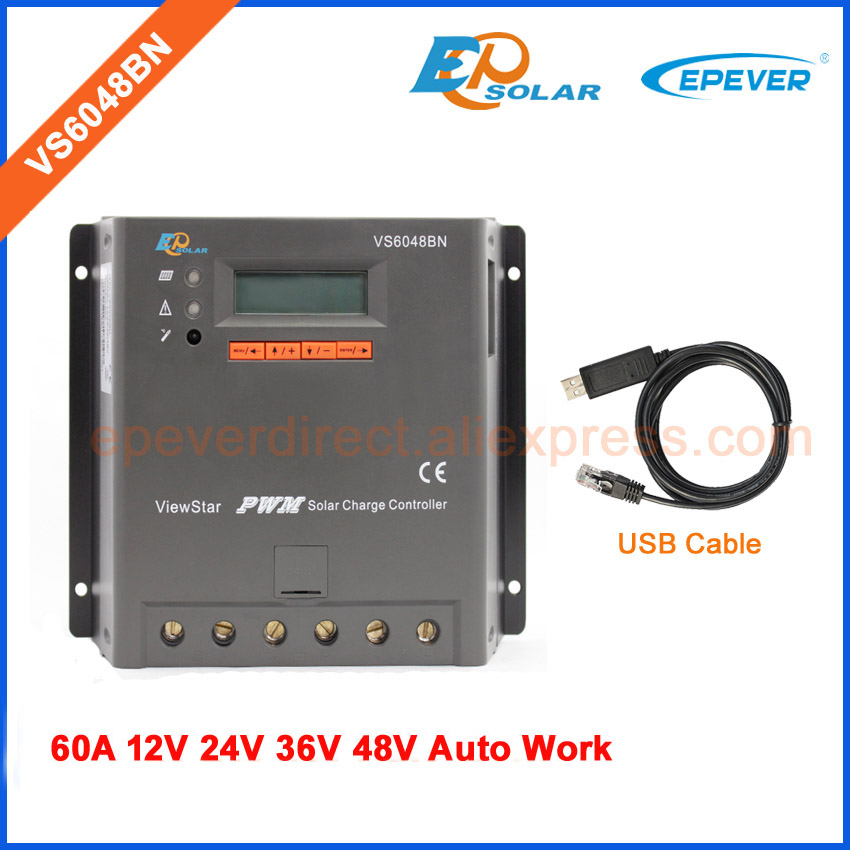 48V PWM Solar charger battery controller 60A VS6048BN EPEVER USb cable connect with PC Battery 24V 36V auto type 60amps48V PWM Solar charger battery controller 60A VS6048BN EPEVER USb cable connect with PC Battery 24V 36V auto type 60amps