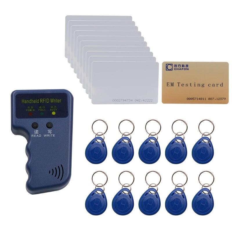 125khz rfid em4100 handheld id card duplicator programmer keyfobs reader with EM4305 rewritable ID keyfobs tags card id card 125khz rfid reader